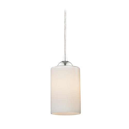 Design Classics Lighting Contemporary Mini-Pendant Light with Opal White Cylinder Glass 582-26 GL1024C