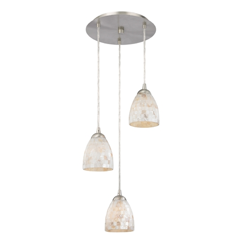 Design Classics Lighting Multi-Light Pendant Light with Mosaic Glass and 3-Lights 583-09 GL1026MB