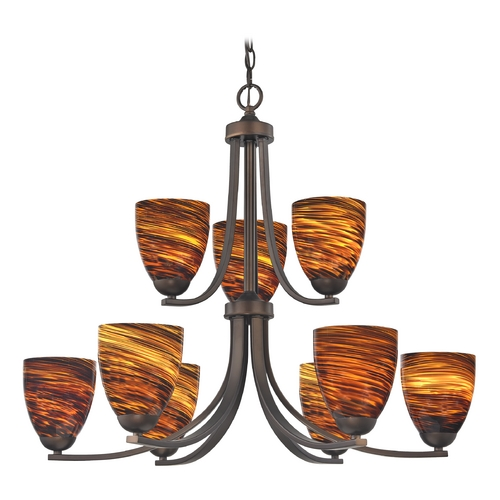 Design Classics Lighting Modern Chandelier with Brown Art Glass in Neuvelle Bronze Finish 586-220 GL1023MB