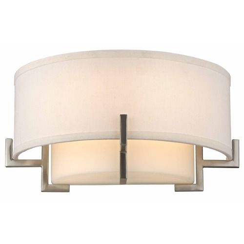 Design Classics Lighting Avila Satin Nickel Wall Sconce with White Glass and White Linen Shade 7016-09