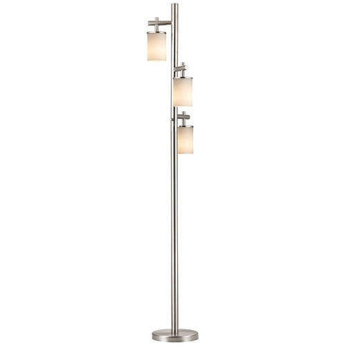 Design Classics Lighting Satin Nickel SODO Floor Lamp with Satin White Cylindrical Shade 1118-1-09/ GL1028C