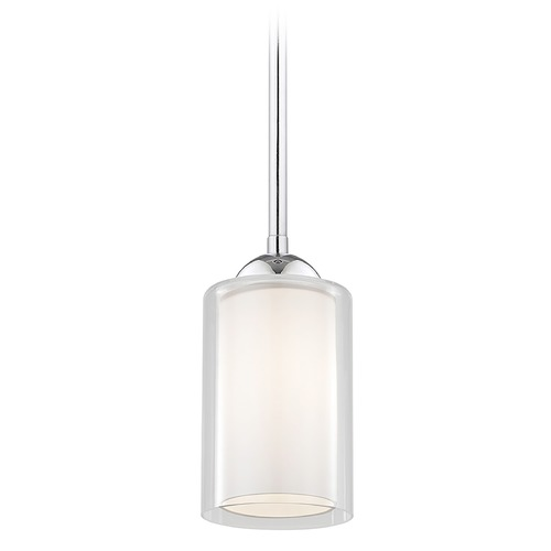 Design Classics Lighting Design Classics Gala Fuse Chrome Stem Hung Mini-Pendant with Double Glass Shade 581-26 GL1061 GL1040C