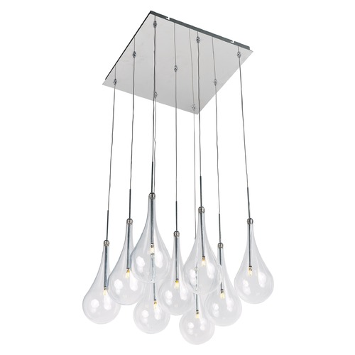 ET2 Lighting Larmes LED Polished Chrome LED Multi-Light Pendant with Globe Shade E20516-18PC