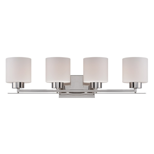 Nuvo Lighting Bathroom Light with White Glass in Polished Nickel Finish 60/5204
