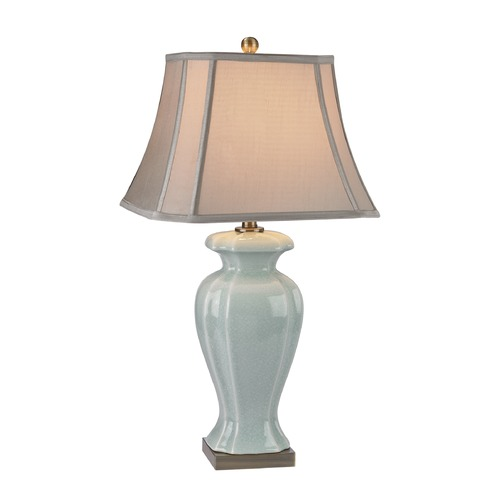 Dimond Lighting Dimond Lighting Celadon, Antique Brass Table Lamp with Cut Corner Shade D2632