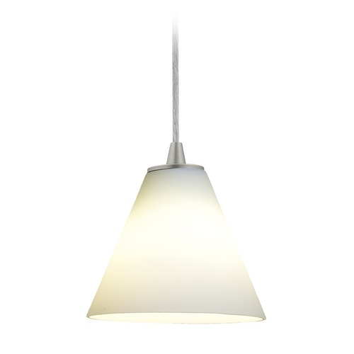 Access Lighting Access Lighting Martini Brushed Steel LED Mini-Pendant Light with Conical Shade 28004-3C-BS/WHT
