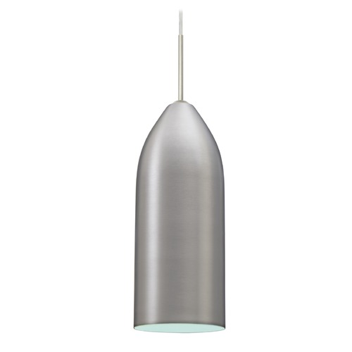 Besa Lighting Besa Lighting Lindy Satin Nickel Mini-Pendant Light with Oblong Shade 1JT-LINDAQ-SN