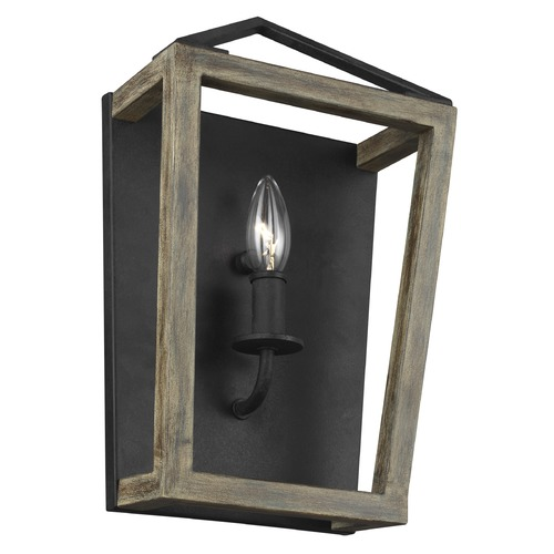 Feiss Lighting Feiss Lighting Gannet Weathered Oak Wood / Antique Forged Iron Sconce WB1877WOW/AF