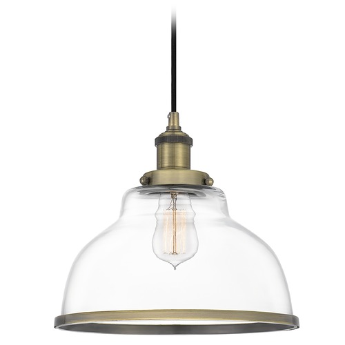 Quoizel Lighting Quoizel Lighting Leo Antique Brass Pendant Light with Bowl / Dome Shade LEOC1512A