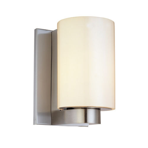 Sonneman Lighting Modern Sconce Wall Light with White Glass in Satin Nickel Finish 3782.13