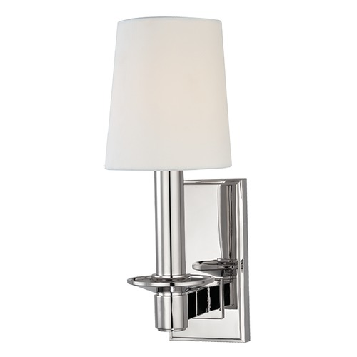 Hudson Valley Lighting Sconce Wall Light with White Shade in Polished Nickel Finish 151-PN