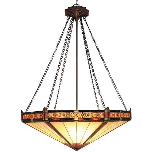 Elk Lighting Pendant Light with Multi-Color Glass in Aged Bronze Finish 622-AB