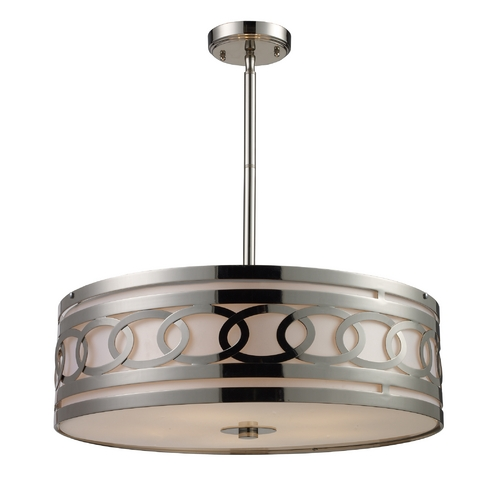 Elk Lighting Modern Drum Pendant Light with White Shade in Polished Nickel Finish 10125/5