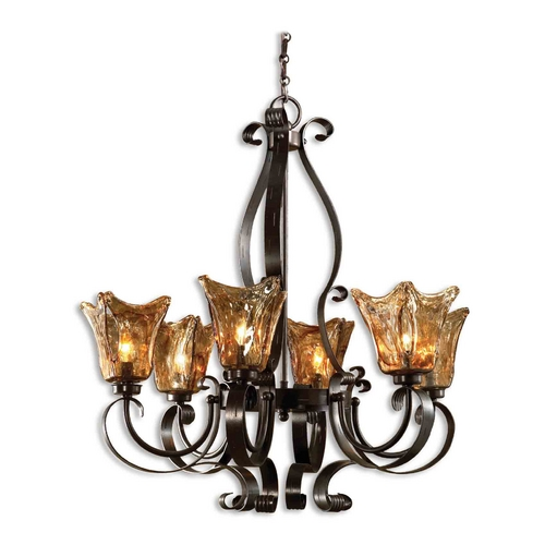 Uttermost Lighting Uttermost 6-Light Chandelier with Amber Glass in Oil Rubbed Bronze 21006