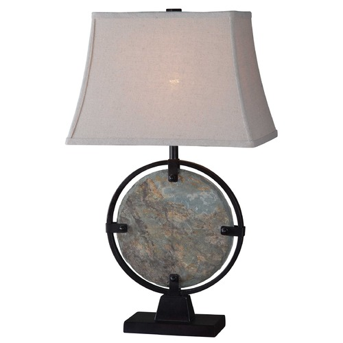 Kenroy Home Lighting Table Lamp with Beige / Cream Shade in Natural Slate Finish 32226SL