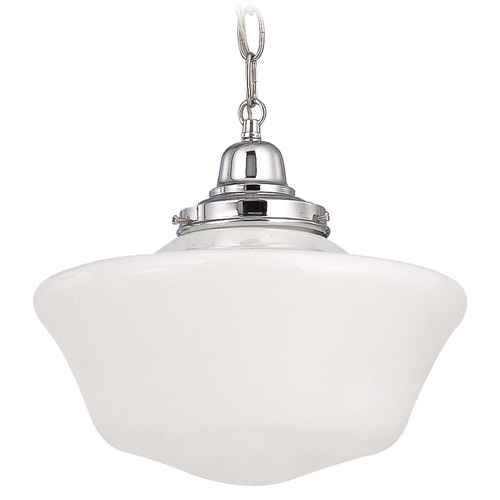 Design Classics Lighting 12-Inch Schoolhouse Pendant Light with Chain in Chrome Finish FB4-26 / GA12 / B-26