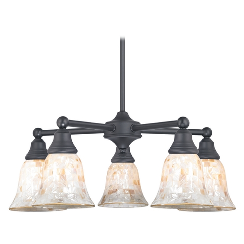 Design Classics Lighting Chandelier with Mosaic Glass in Matte Black Finish 597-07 GL9222-M