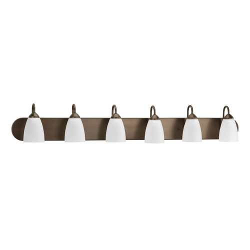 Progress Lighting Progress Bathroom Light with White Glass in Antique Bronze Finish P2714-20