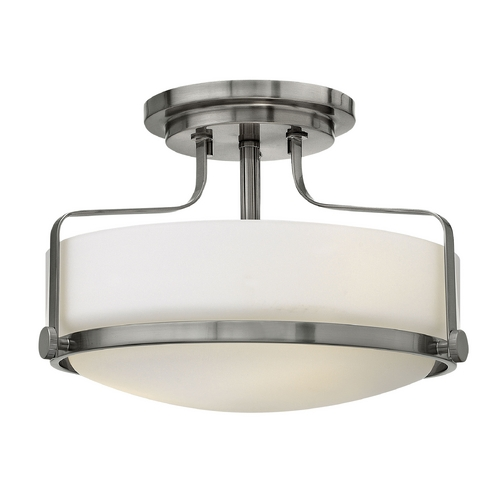 Hinkley Lighting Flushmount Light with White Glass in Brushed Nickel Finish 3641BN