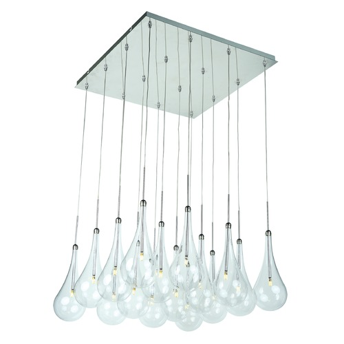 ET2 Lighting Larmes LED Polished Chrome LED Multi-Light Pendant with Globe Shade E20517-18PC