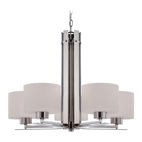 Nuvo Lighting Chandelier with White Glass in Polished Nickel Finish 60/5205