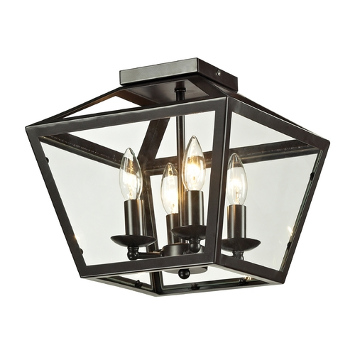 Elk Lighting Semi-Flushmount Light with Clear Glass in Oil Rubbed Bronze Finish 31506/4