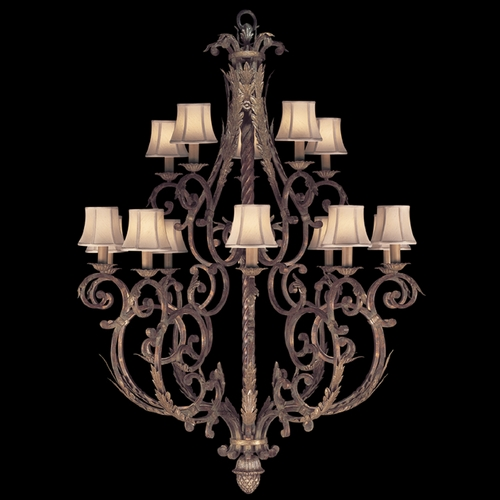 Fine Art Lamps Fine Art Lamps Stile Bellagio Tortoised Leather Crackle with Stained Silver Leaf Accents Chandelier 141940ST