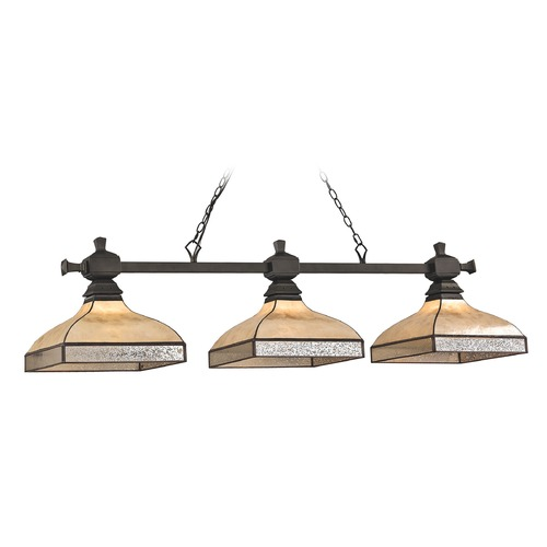 Elk Lighting Elk Lighting Santa Fe Tiffany Bronze Billiard Light with Square Shade 70205/3