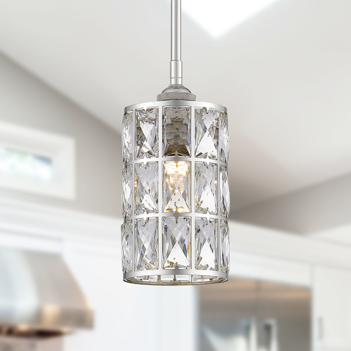 Quoizel Lighting Quoizel Oliver Polished Nickel Mini-Pendant with Crystal Shade QPP4046PK