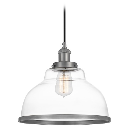 Quoizel Lighting Quoizel Lighting Leo Antique Nickel Pendant Light with Bowl / Dome Shade LEOC1512AN