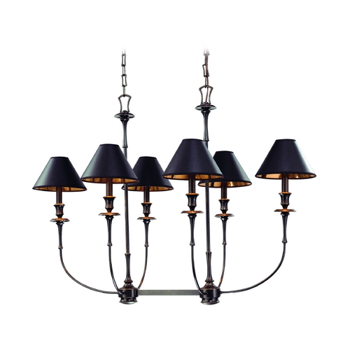 Hudson Valley Lighting Chandelier with Black Paper Shades in Old Bronze Finish 1868-OB