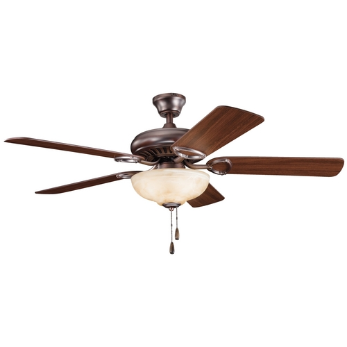 Kichler Lighting Kichler Ceiling Fan with Light in Oil Brushed Bronze Finish 339211OBB