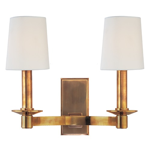 Hudson Valley Lighting Sconce Wall Light with White Shades in Aged Brass Finish 152-AGB