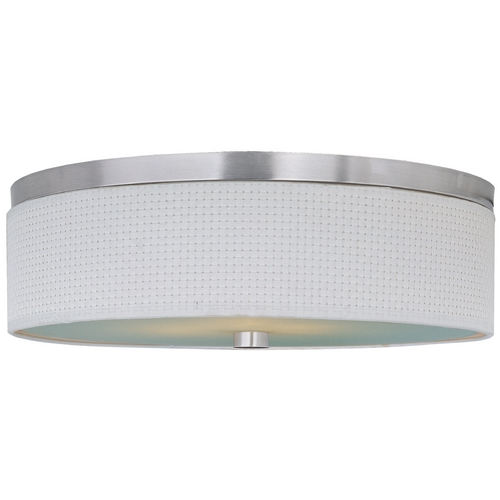 ET2 Lighting Modern Flushmount Light with White Shades in Satin Nickel Finish E95004-100SN