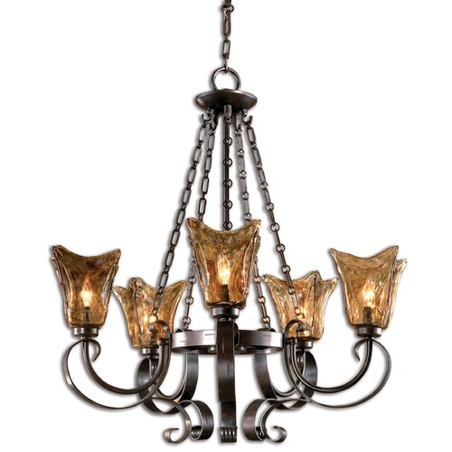 Uttermost Lighting Chandelier with Amber Glass in Oil Rubbed Bronze Finish 21007