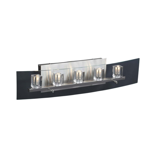 PLC Lighting Modern Bathroom Light with Clear Glass in Satin Nickel Finish 1534 SN