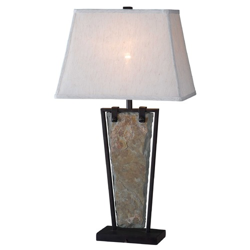 Kenroy Home Lighting Table Lamp with White Shade in Natural Slate Finish 32227SL
