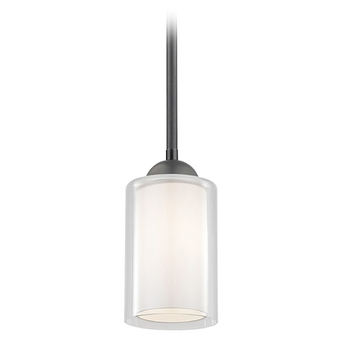 Design Classics Lighting Design Classics Gala Fuse Matte Black Stem Hung Mini-Pendant with Double Glass Shade 581-07  GL1061 GL1040C