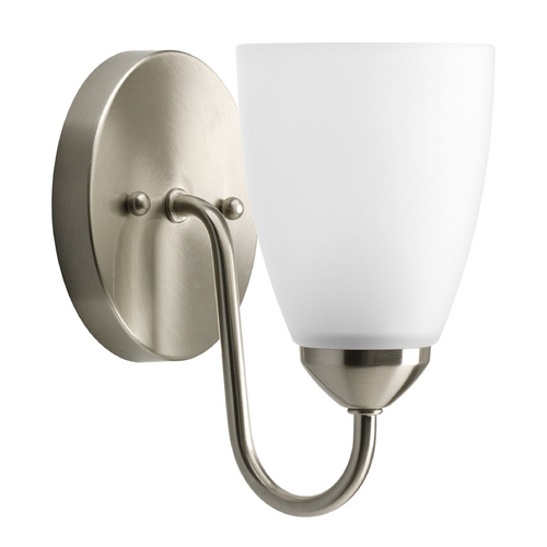 Progress Lighting Progress Sconce Wall Light with White Glass in Brushed Nickel Finish P2706-09EBWB