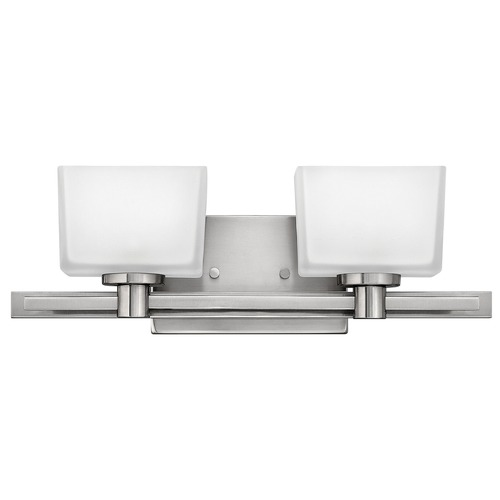 Hinkley Lighting Bathroom Light with White Glass in Brushed Nickel Finish 5022BN