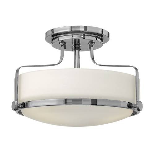 Hinkley Lighting Flushmount Light with White Glass in Chrome Finish 3641CM