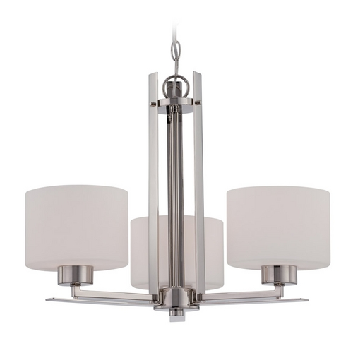 Nuvo Lighting Chandelier with White Glass in Polished Nickel Finish 60/5206