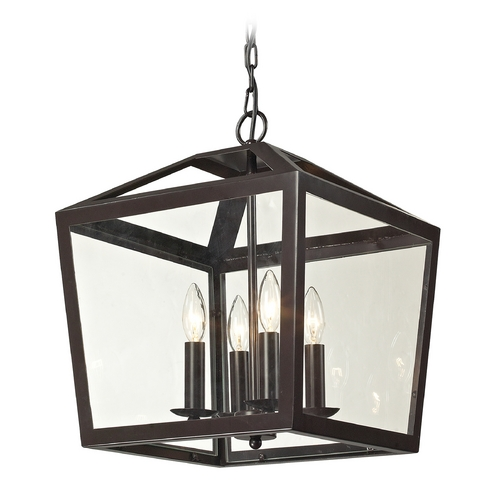 Elk Lighting Pendant Light with Clear Glass in Oil Rubbed Bronze Finish 31507/4