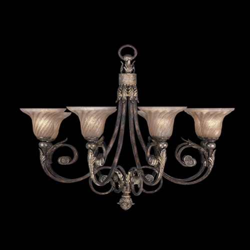 Fine Art Lamps Fine Art Lamps Stile Bellagio Tortoised Leather Crackle with Stained Silver Leaf Accents Chandelier 225142ST