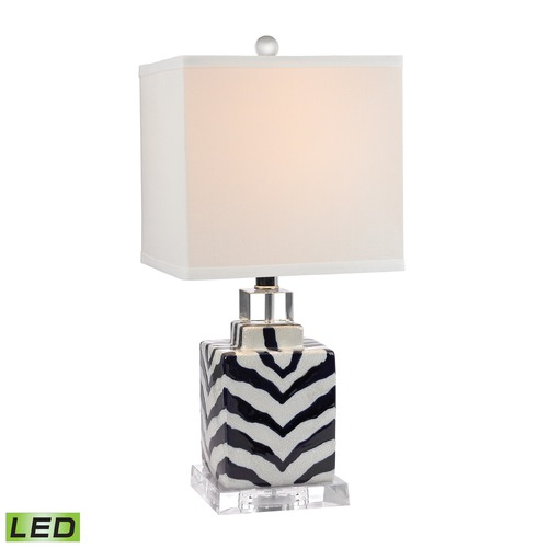 Dimond Lighting Dimond Lighting Navy, White Crackle Glaze LED Table Lamp with Square Shade D2638-LED