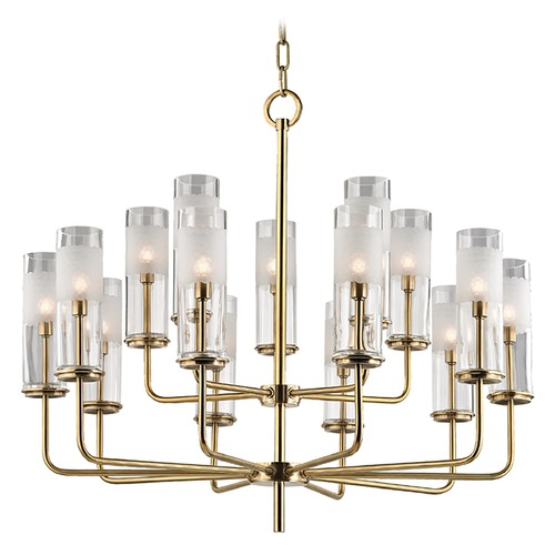 Hudson Valley Lighting Wentworth 15 Light 2-Tier Chandelier - Aged Brass 3930-AGB
