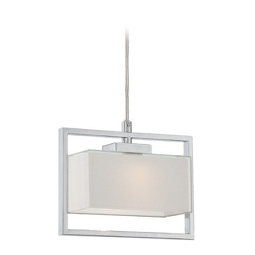 Lite Source Lighting Lite Source Polished Steel LED Mini-Pendant with Rectangle Shade LS-19999