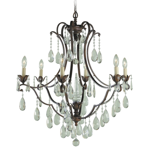 Feiss Lighting Crystal Chandelier in British Bronze Finish F1883/6BRB