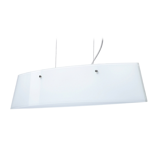 Besa Lighting Modern Island Light with White Glass in Satin Nickel Finish LS3-445406-SN