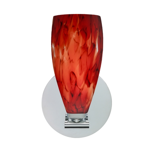 Besa Lighting Modern Sconce Wall Light with Red Glass in Polished Nickel Finish 1SX-719841-PN